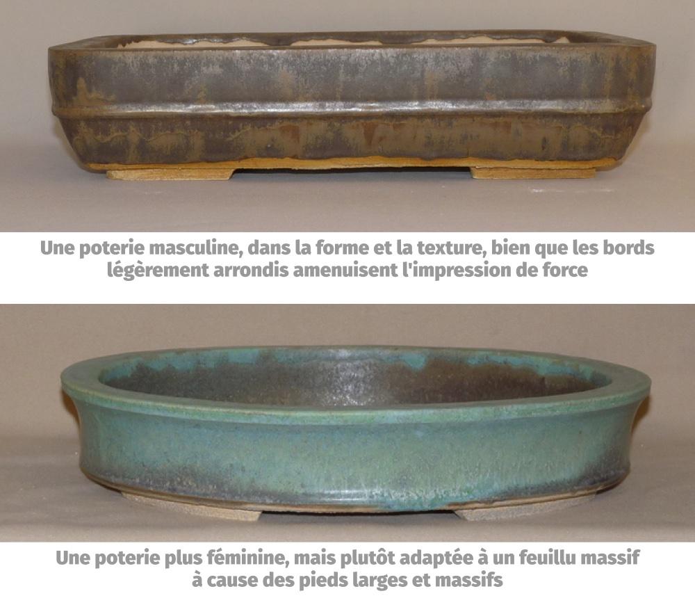 2 exemples de poteries masculines et féminines
